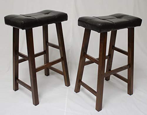 eHemco Heavy Duty Padded Faux Leather Saddle Seat Stools - 29 Espresso Set of 2