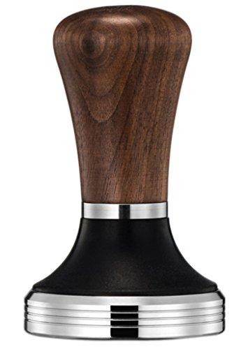 Diguo Elegance Wooden Coffee Tamper Flat Espresso Tamper for 58mm Portafilter Stainless Steel Flat with Height Adjustable Wooden Handle Barista Espresso Tamper