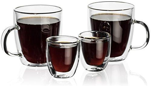 Hudson Essentials Double Wall Insulated Glass Coffee Mug 12 oz and Espresso Cup 25 oz - Set of 4