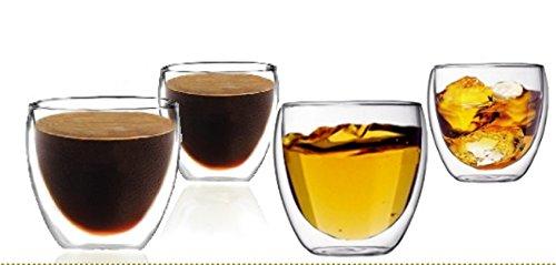Suns Tea TM Double Wall Espresso Coffee CupsVodka Shot Glass Set of 4