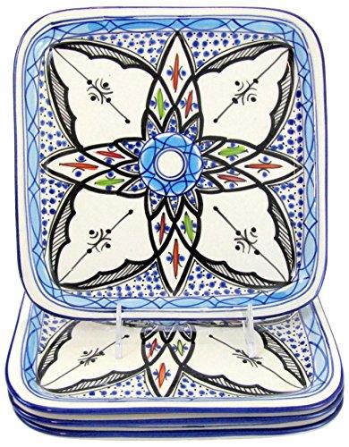 Le Souk Ceramique TIB37 Stoneware Square Plates Set of 4 Tibarine