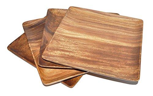 Pacific Merchants Acaciaware 7-Inch Acacia Wood Square Plate set of 4