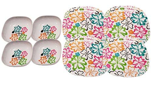 Set of 4 Melamine 7 Square Bowls and 11 Square Plates Set Hibiscus Flower Design Set of 2 - 4pk