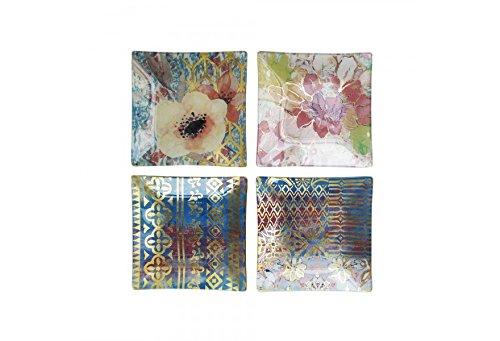 Tracy Porter 1183687-4P Tid Bit Square Plates Set of 4 Multicolor