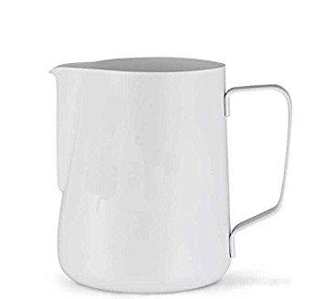 IVYKIN Non-stick Milk Pitcher EspressoLatte Art Milk Cup12oz Stainless Steel with white Teflon Coating for Christmas Gift