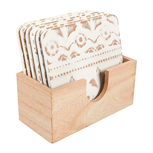 6 Square Wooden Coasters - Drink and Table Coaster Set with Holder White Floral Print 38 x 012 x 38 Inches