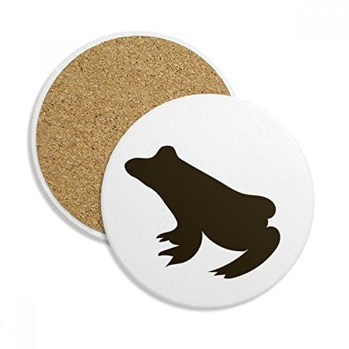 Black Frog Cute Animal Portrayal Ceramic Coaster Cup Mug Holder Absorbent Stone for Drinks 2pcs Gift