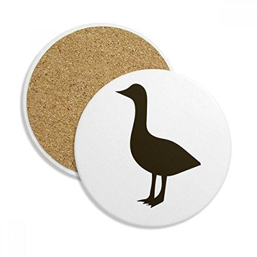 Black Goose Cute Animal Portrayal Ceramic Coaster Cup Mug Holder Absorbent Stone for Drinks 2pcs Gift