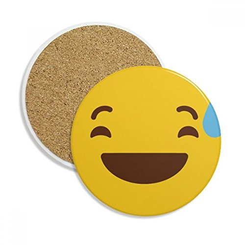 Laugh Awkward Yellow Cute Online Chat Emoji Stone Drink Ceramics Coasters for Mug Cup Gift 2pcs