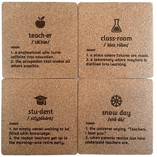Funny Teacher Appreciation Coaster Gift Set Definitions Teacher Student Classroom Snow Day Teacher Humor Gift for Teachers