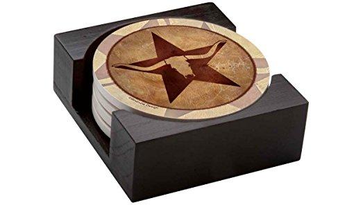 Thirstystone Stoneware Coaster Set Gift Set - Texas Star Longhorn - HA42