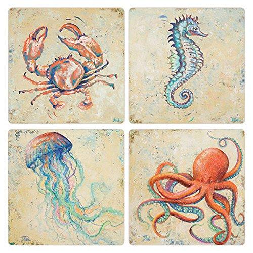 CoasterStone Creatures of The Ocean Absorbent Coasters Set of 4 4-14 Multicolor
