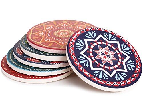 Lifver 6-Piece Absorbent Stone Coaster set drink spills coasters Mandala Style