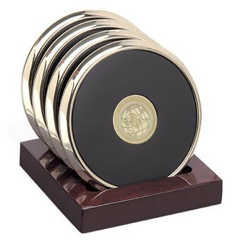 North Dakota - Brass Coaster Set