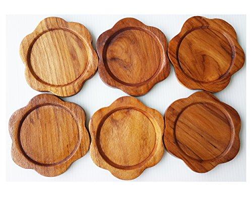 2 Set Set of 6 Amatahouse Handmade Teak Wood Coasters for Drink Saucer Indoor Outdoor Flower Shape