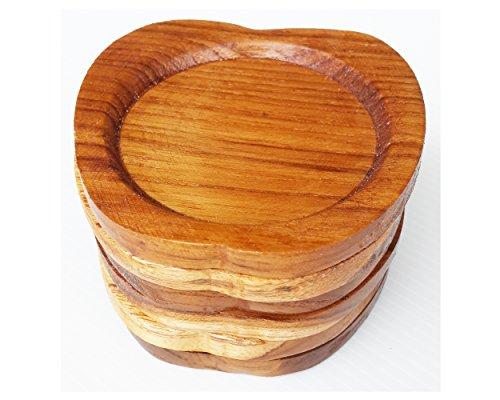 2 Set Set of 6 Amatahouse Handmade Teak Wood Coasters for Drink Saucer Set Home Decor Indoor Outdoor Apple Shape
