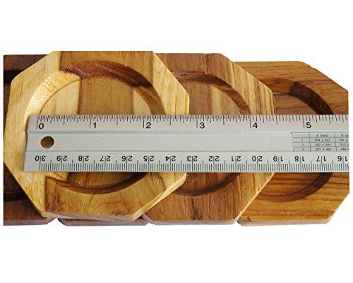 2 Set Set of 6 Amatahouse Handmade Teak Wood Coasters for Drink Saucer Set Octagon Home Decor Indoor Outdoor