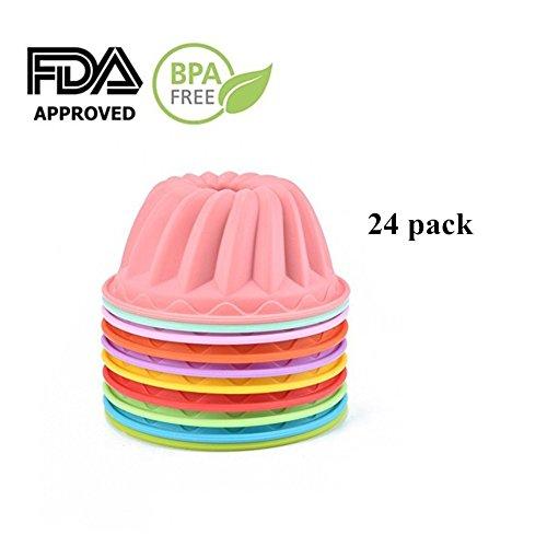 SHareling Muffin Cups Cupcake Bakeware Silicone Cake Baking MoldsMini Bundt Cake Pans Pudding Jello Molds Reusable Silicone Cake MoldsColor Random 24-Pack Mini Bundt
