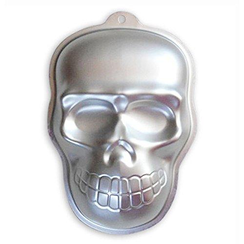 WJSYSHOP 10 Inch Skull Shaped Aluminum 3D Cake Mold Baking Mould Tin Cake Pan for Halloween Party - Skull