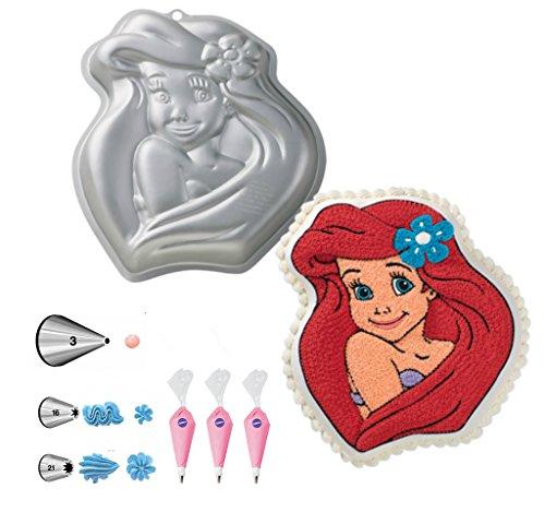 Wilton Disney Princess Ariel Cake Pan Bundle of 7 Items Ariel Cake Pan Decorating Tips and Decorating Bags