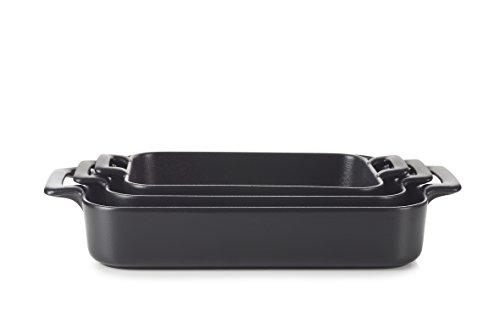REVOL SET03BC002 Culinary Porcelain Rectangular Roasting Dishes Black Cast Iron Style