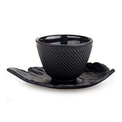 XDOBO Japanese Black Hammered 2-3 Oz Cast Iron Teacup 4 Leaf