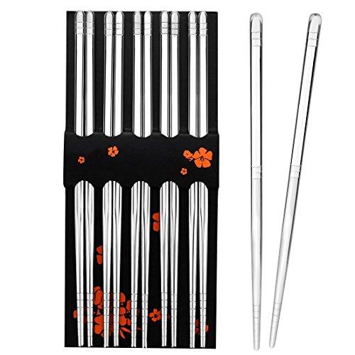 Rbenxia 5 Pcs Stainless Steel Chopsticks 89 Inches Chopstick Reusable Metal Steel Chopstick for Kitchen Dinner Silver