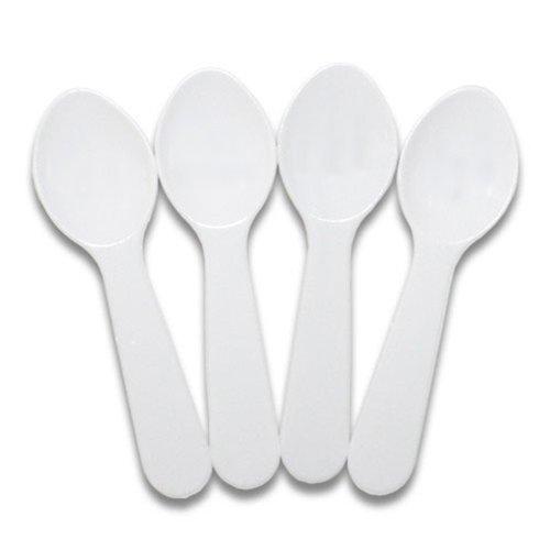 Miniature Plastic Colored Tasting Spoons - 100 ct White