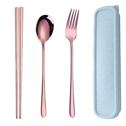 Fullgaden 3 PCS Stainless Steel Travel Camping Flatware Set Chopsticks with Portable Case KnifeFork Spoon Rose Gold