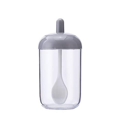 DAmeng Kitchen Supplies Seasoning Bottle Salt Storage Box Spice Jar With Spoon Gray