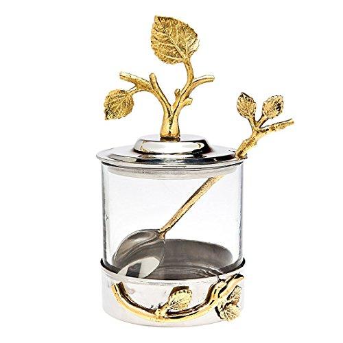 Godinger Silver Art Leaf Jam Jar With Spoon