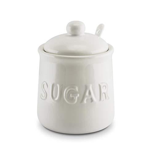 KOVOT 10 oz Ceramic Sugar Jar Spoon Set  White
