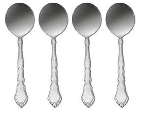 Oneida Satinique 5 34 Round Bowl Cream Soup  Bouillon Spoon Set of Four