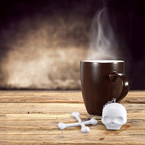 Helencasa Silicone Tea Bones Skull Tea Infuser Filter Diffuser Loose Leaf Leaves Silicone Tea Strainer ~Set of 2~