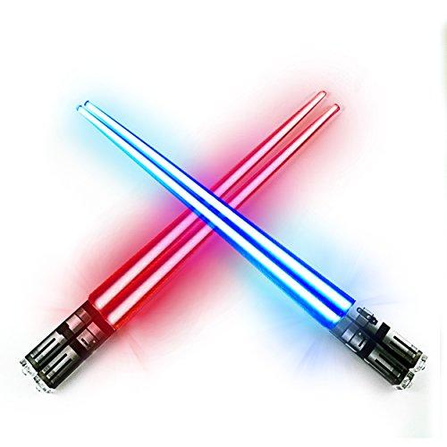 Chop Sabers Light Up LightSaber Chopsticks Set 2 Pairs Red Blue
