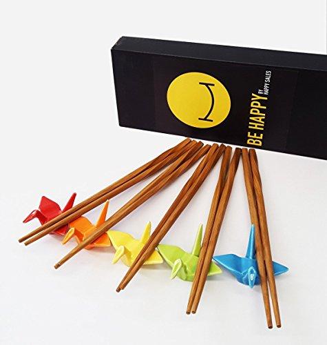 Happy Sales 5 Piece Crane Chopstick Set with Rests MC Assorted