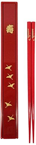 Happy Sales HSKS1R Japanese Red Chopsticks Set with Case - Crane Design