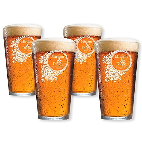 Personalized Beer Pint Glasses Set of 4 by Froolu Customized Beer Glasses For Housewarming Wedding Anniversary Gifts