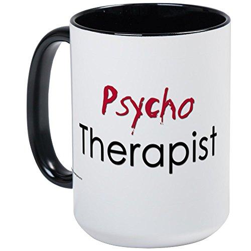 CafePress - Psycho Therapist Large Mug Blood Red - Coffee Mug Large 15 oz White Coffee Cup
