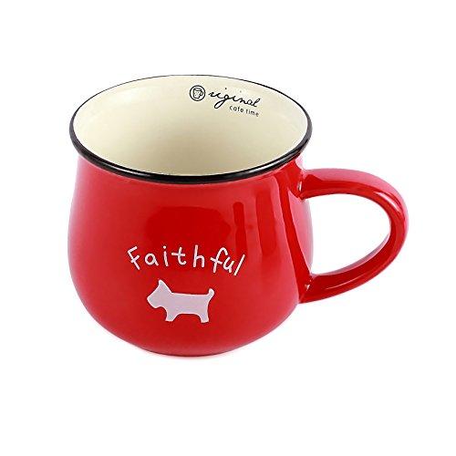 Neolith Red Ceramic Mug with Random Animal Pattern Dog Ladybug Elephant Sheep Cat Mugs Gift Box Unique Shaped Coffee Mugs Funny Coffee Cup Tea Mug for Women Unique Porcelain Cups 12 oz Crimson