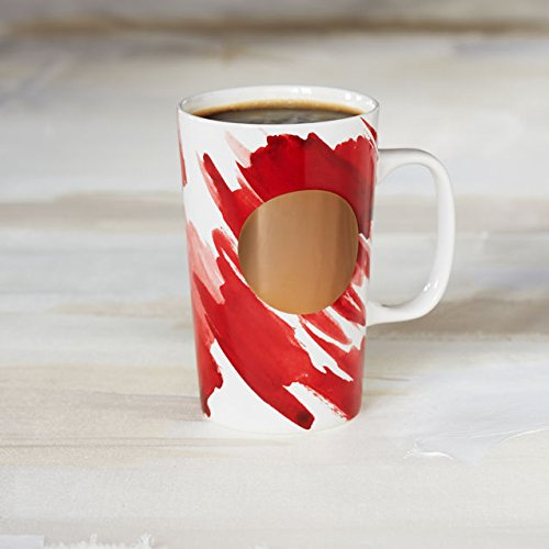 Starbucks Dot Water Color Valentine Red Coffee Mug 16 Oz