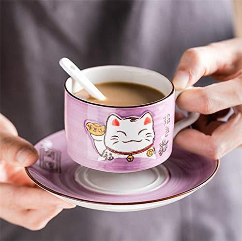 EatingBiting(R)5 Colors Handcraft Lucky Cat Maneki Neko Ceramic Tea Cups Mugs Dish Spoon 3PCs purple