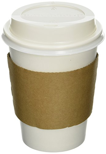 50 Paper Coffee CupDisposable Hot Cup 12 oz WHITE with 50 Cappuccino Lids and 50 Sleeves