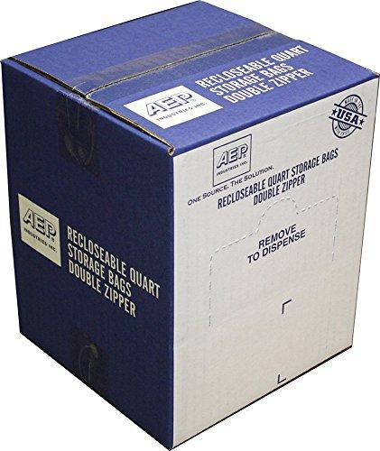 AEP Industries ZIP1QS500 Zipper Seal Quart Storage Bags Clear Pack of 500
