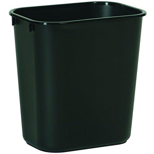 Rubbermaid Commercial Products FG295500BLA Plastic Resin Deskside Wastebasket 35 Gallon13 Quart Black Pack of 12