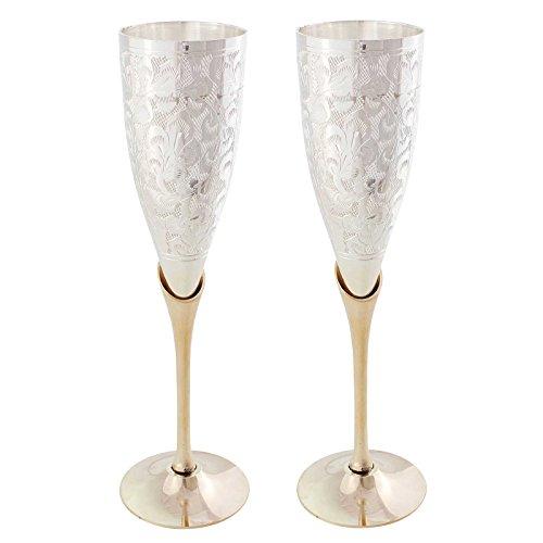 Halowishes German Silver Wine Glasses Pair Gift Set Handicraft - 311