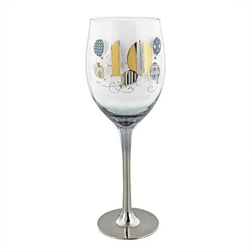 Personalised Wendy Jones Blackett Designer 40 40th Birthday Gold Silver wine glass- add namesmessage
