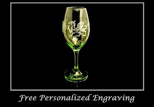 Celtic Welsh Dragon Lime Green 12 oz Wine Glass