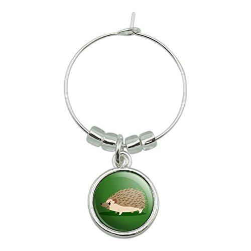 Hedgehog on Green Wine Glass Charm Drink Marker