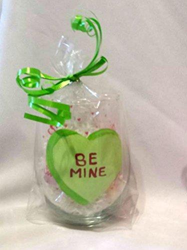 Valentines Day Conversation Heart Stemless Green Wine Glass - Be Mine